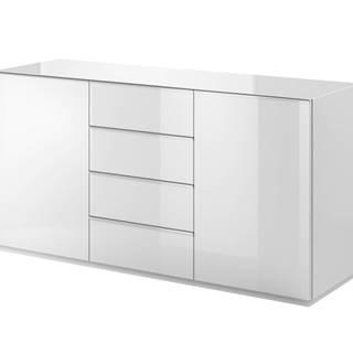 HELIO TYP 26 komoda 2D4S, bílá/bílá sklo