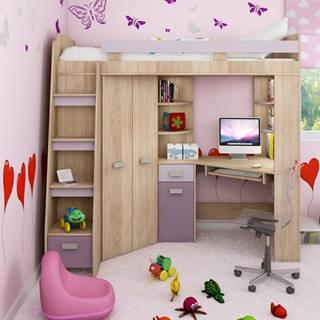 Multifunkční postel ANTRESOLA levá, barva: dub sonoma/levandulová/fialová