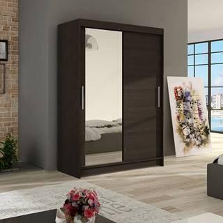 Šatní skříň MIAMI VI, choco/zrcadlo
