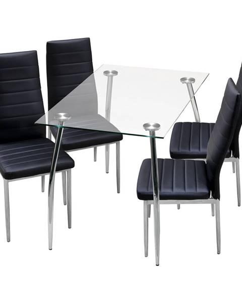 Smarshop Jídelní stůl GRANADA + 4 židle MILÁNO černá