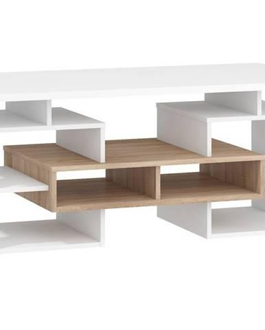 Konferenční stolek W RIO 13, dub sonoma/bílá