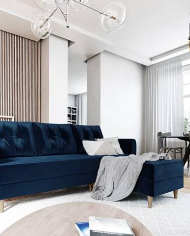 Rohová sedačka PALERMO, univerzální, modrá látka