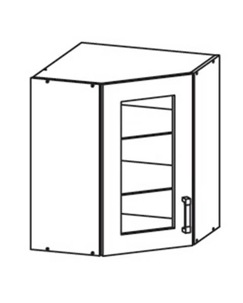 Smartshop EDAN horní skříňka GNWU vitrína - rohová, korpus congo, dvířka béžová písková