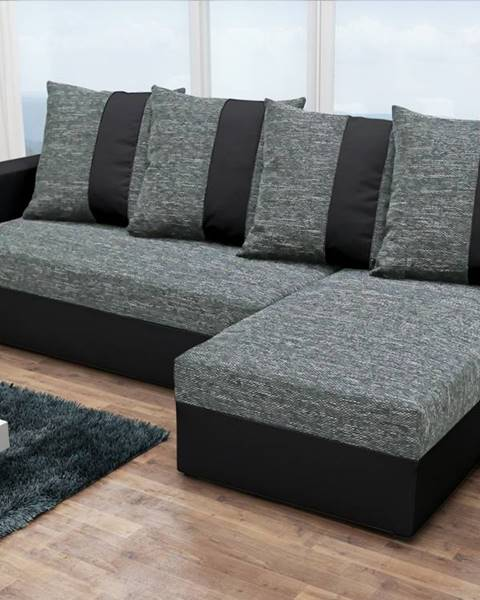 Smartshop Rohová sedačka PRAGA, šedá látka/černá ekokůže