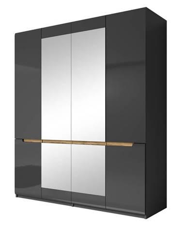 HEKTOR šatní skříň se zrcadlem 180 TYP 20, antracit/antracit lesk