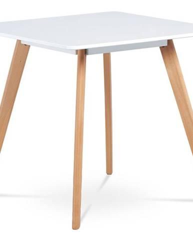 Jídelní stůl 80x80 cm, MDF, bílý matný lak, masiv buk, přírodní odstín DT-606 WT