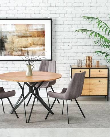 Kulatý jídelní stůl PIXEL-2, dub zlatý/černá