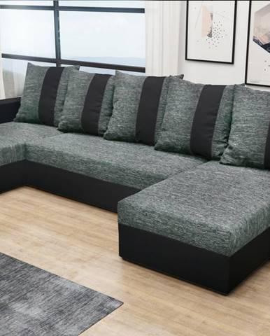 Rohová sedačka PRAGA U, šedá látka/černá ekokůže