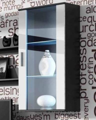SOHO, závěsná vitrína S-2, černý mat/bílý lesk