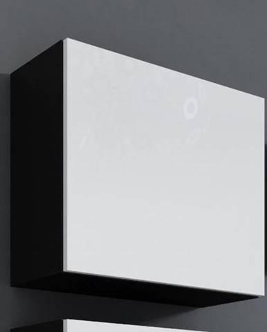 Vitrína čtvercová VIGO, černá/bílý lesk