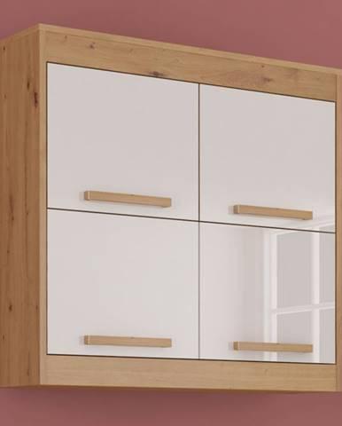 Závěsná skříňka 4D MAXIM 41, dub artisan/bílý lesk
