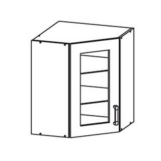 EDAN horní skříňka GNWU vitrína - rohová, korpus congo, dvířka béžová písková