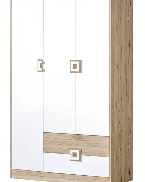 Smartshop Šatní skříň 3-dveřová NIKO 3, dub jasný/bílá