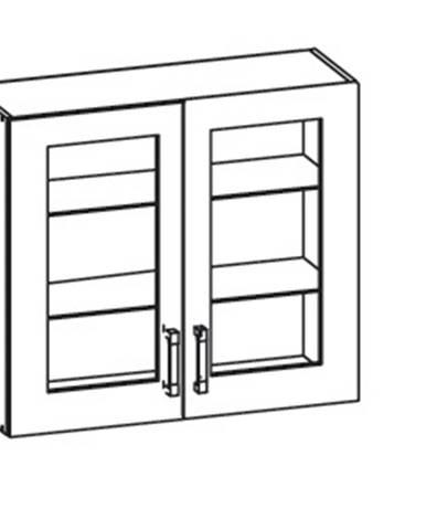 EDAN horní skříňka G80/72 vitrína, korpus šedá grenola, dvířka dub reveal