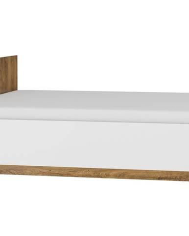 Postel 90x200 MAXIM 19, dub burgundský/bílý lesk