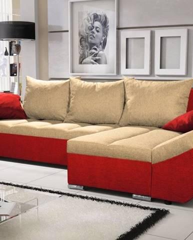 Rohová sedačka KORFU 9, krémová/červená