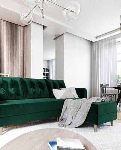 Rohová sedačka PALERMO, univerzální, zelená látka