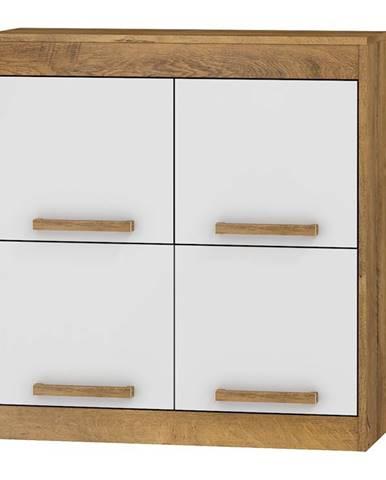 Závěsná skříňka 4D MAXIM 41, dub burgundský/bílý lesk