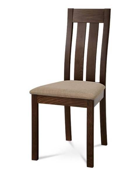 Smartshop Dřevěná židle BC-2602 WAL, ořech/potah béžový