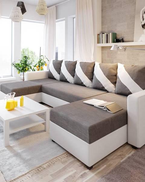 Smartshop Rohová sedačka ASTANA U 7, tmavě šedá látka/bílá ekokůže