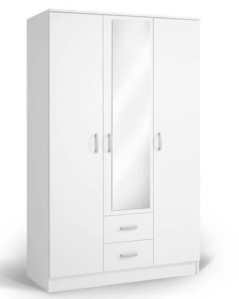 MATIS Šatní skříň se zrcadlem IVA 3K2FO, bílá