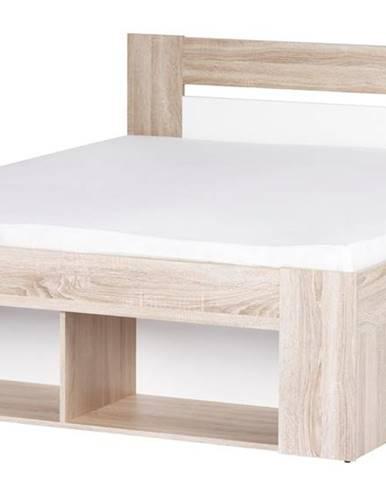 MILO, postel 160x200 cm, dub sonoma/bílá