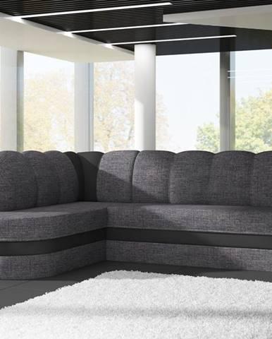 Rohová sedačka BENANO B022, levá, tmavě šedá látka/černá ekokůže