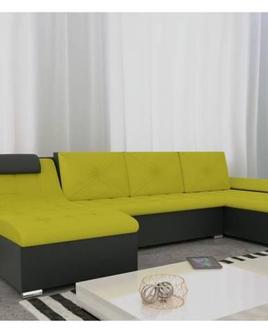 Rohová sedačka GUSTO U, zelená/černá