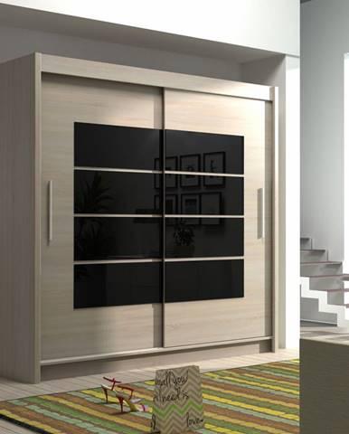 Šatní skříň VANCOUVER, dub sonoma/černé sklo