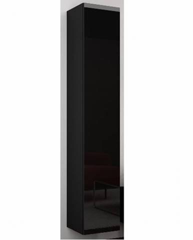 Závěsná vitrína VIGO 180 cm - plná dvířka, černá/černý lesk