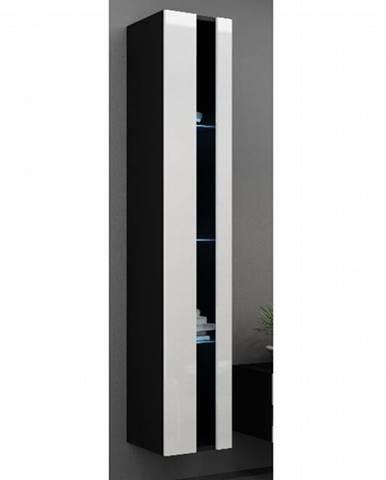 Závěsná vitrína VIGO NEW, černá/bílý lesk