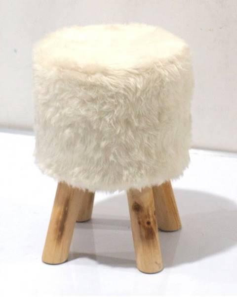 Smartshop ALPIA taburet, bílá kožešina/borovice