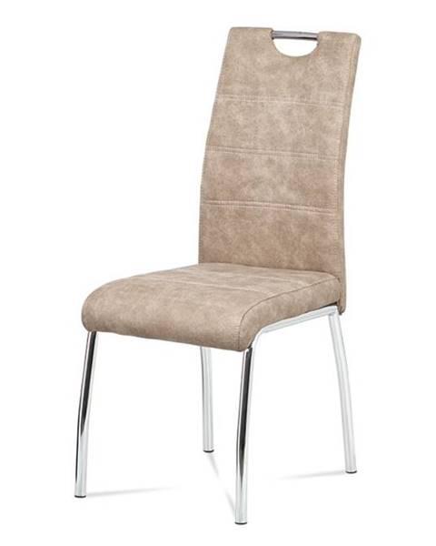 Smartshop jídelní židle, látka krémová COWBOY / chrom HC-486 CRM3
