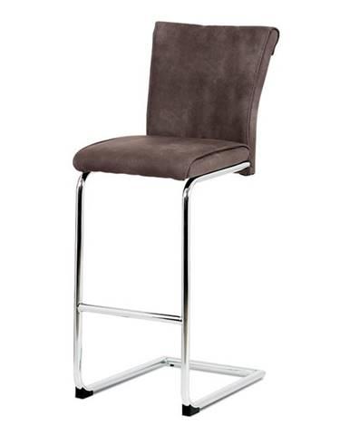 Barová židle, hnědá ekokůže v dekoru broušené kůže, chromovaná pohupová podnož BAC-192 BR