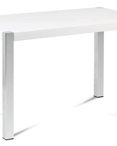 Jídelní stůl 120x75 cm, vysoký lesk bílý / chrom AT-2066 WT