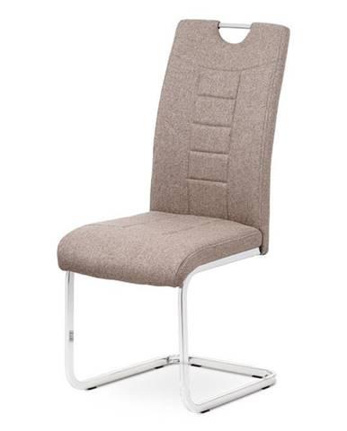 Jídelní židle - coffee látka, kovová chromovaná podnož DCL-404 COF2