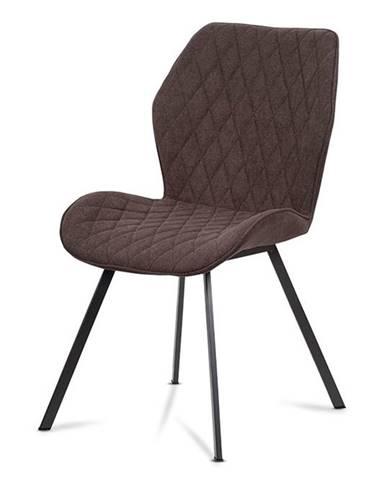 Jídelní židle, hnědá látka, kovová čtyřnohá podnož, antracitový matný lak AC-1121 BR2