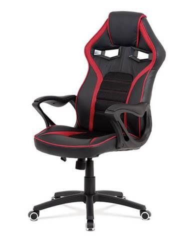 Kancelářská židle, černá ekokůže + červená látka MESH, černý plastový kříž, houpací mechanismus KA-G