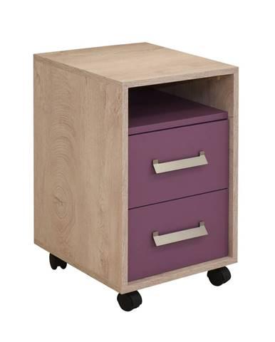 KINDER Noční stolek 2F, dub/fialová