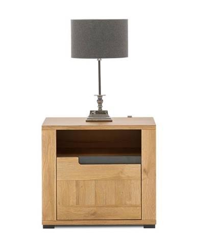 Noční stolek YORK L, dub granson/grafit