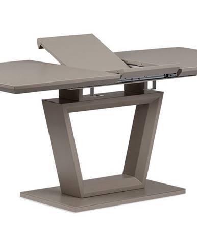 Rozkládací jídelní stůl 140+40x80x76 cm, MDF deska, barva matná lanýžová, lanýžové sklo satin HT-466
