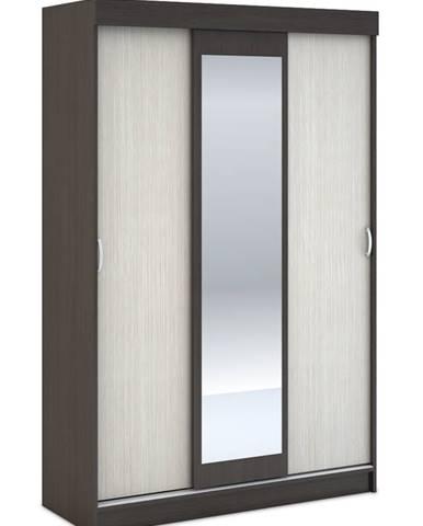 Šatní skříň BASIA 3D WK-551 se zrcadlem belfort/wenge