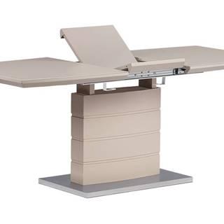Rozkládací jídelní stůl 140+40x80x76 cm, barva cappucino, vysoký lesk, bílé sklo / broušený nerez HT