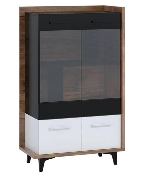 MORAVIA FLAT Box 12– vitrína 2D, craft tobaco/bílá/černá