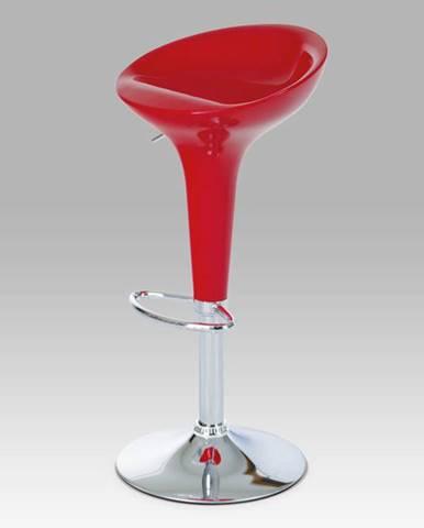 Barová židle červená/plast chrom AUB-9002 RED