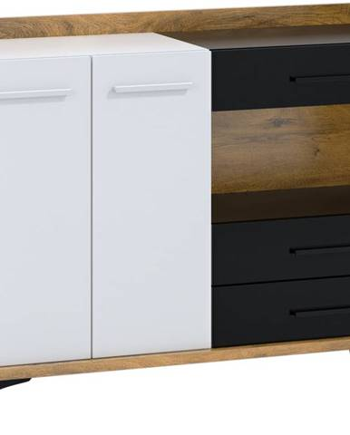 Box 02 - Komoda 2D3S, dub burgundský/bílá/černá