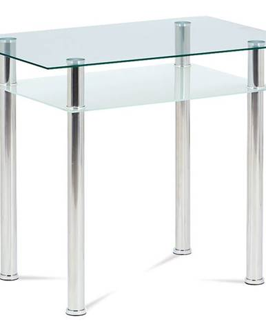 Jídelní stůl 90x60 cm, sklo + chrom  GDT-111 CLR