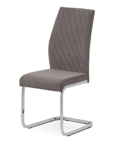 Jídelní židle - lanýžová sametová látka, kovová chromovaná podnož DCL-442 LAN4