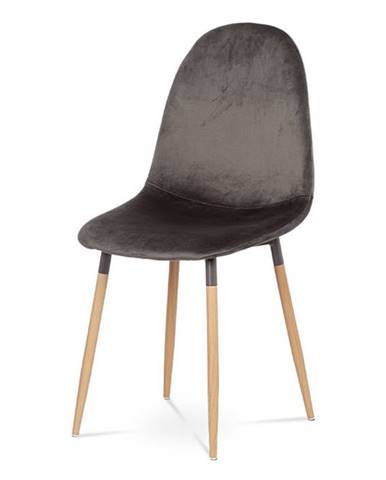 Jídelní židle, šedá látka samet, kov buk CT-622 GREY4