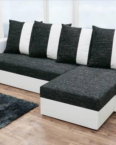 Rohová sedačka PRAGA, černá látka/bílá ekokůže